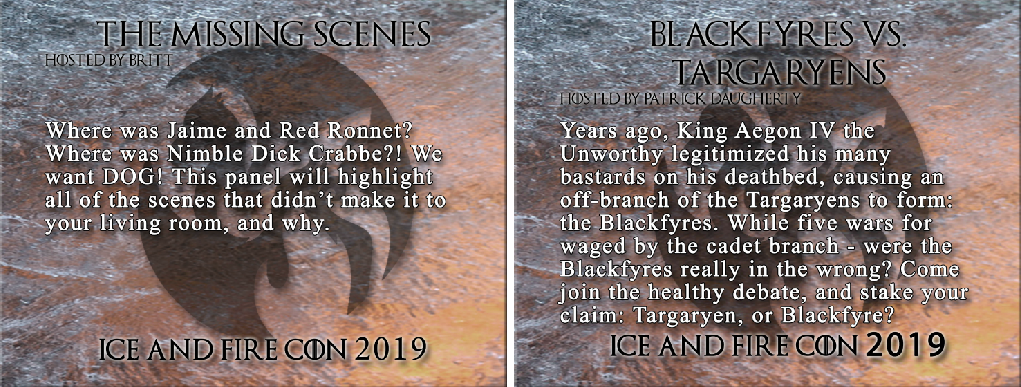 ice and fire con 2019 panels